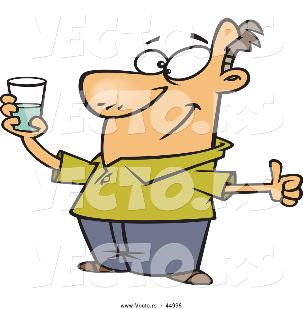 Clipart image of man holding a glass of water vector library download Vector of a Positive Cartoon Man Holding Glass Half Full of Water by ... vector library download