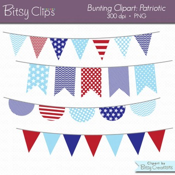 Clipart image of red white and blue bunting image library Patriotic Bunting Clipart Digital Art Set Red White and Blue Banner Flag image library