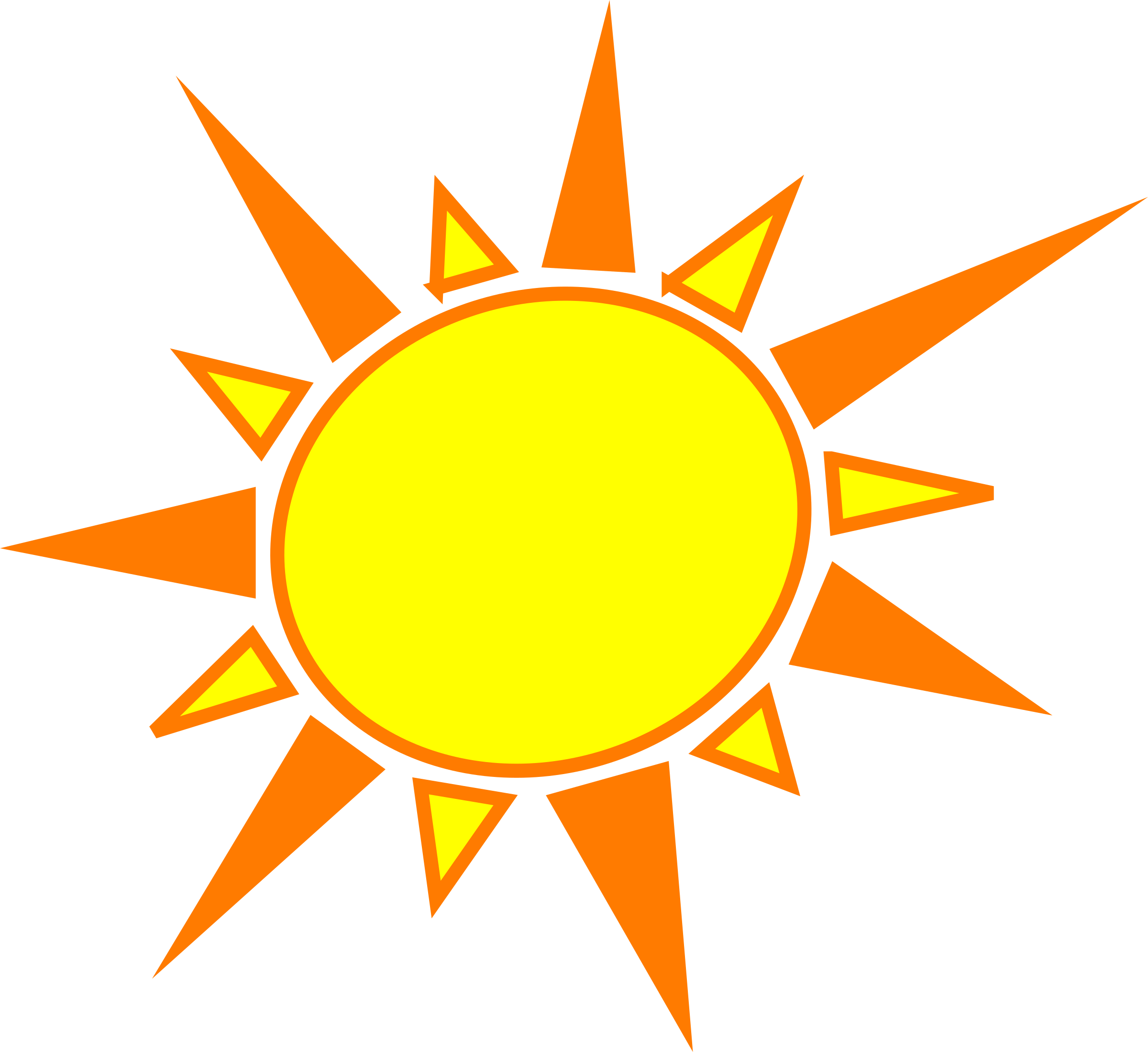 The sun shining clipart png svg transparent library Clipart - Yellow and orange sun svg transparent library