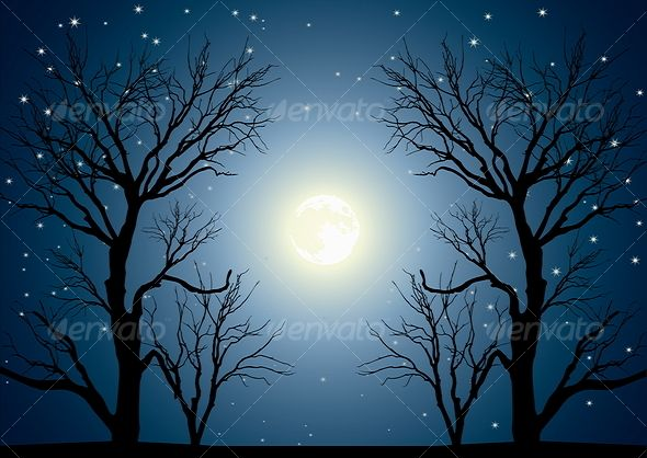 Clipart image of the moon chestnut tree jpg free download paintings of moon | landscape with trees and full moon moon skies ... jpg free download