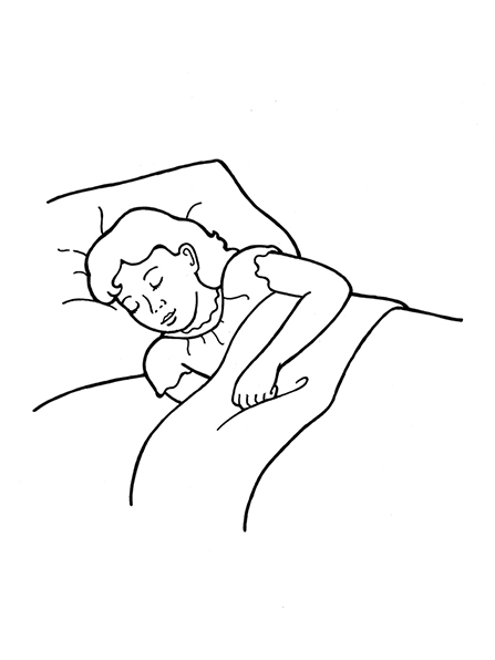 Clipart images black n white sleepy time clipart black and white stock Girl Sleeping in Bed clipart black and white stock
