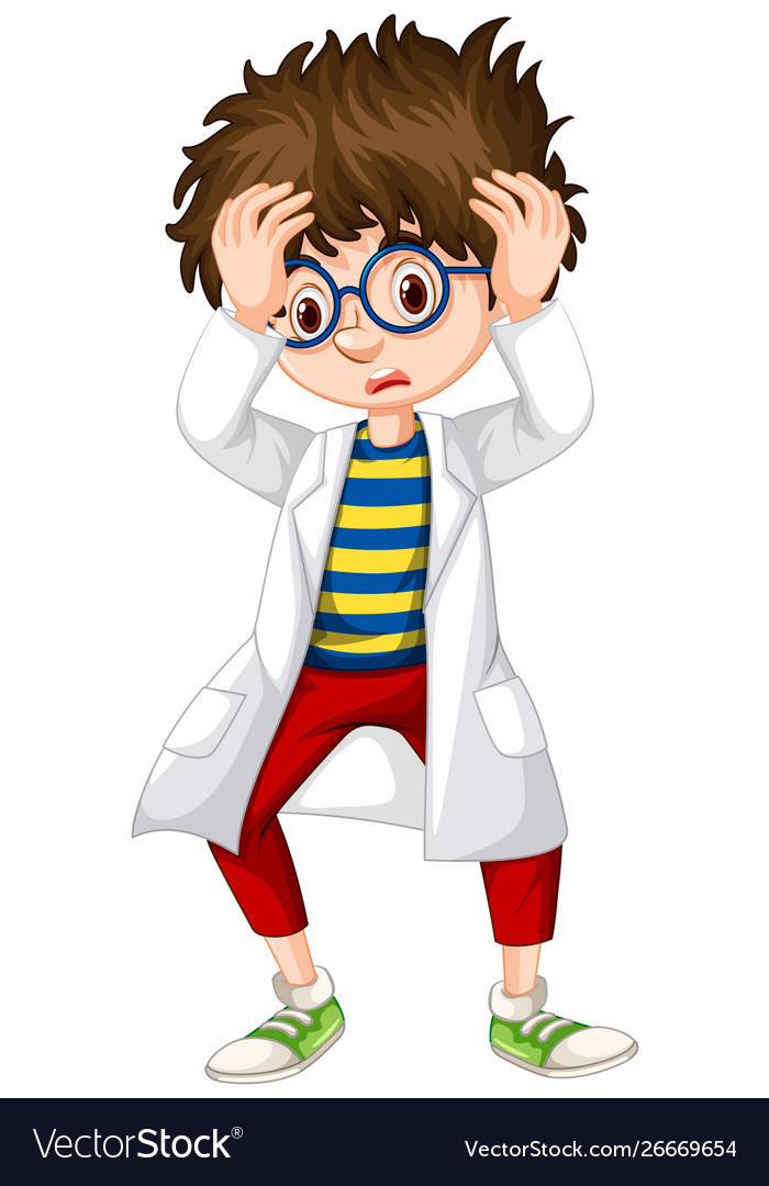 Clipart images of a boy worried about homework graphic stock Boy in science gown looking worried graphic stock