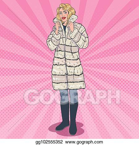 Clipart images of a girl in a winter coat graphic library Clip Art Vector - Pop art beautiful woman posing in warm fur coat ... graphic library