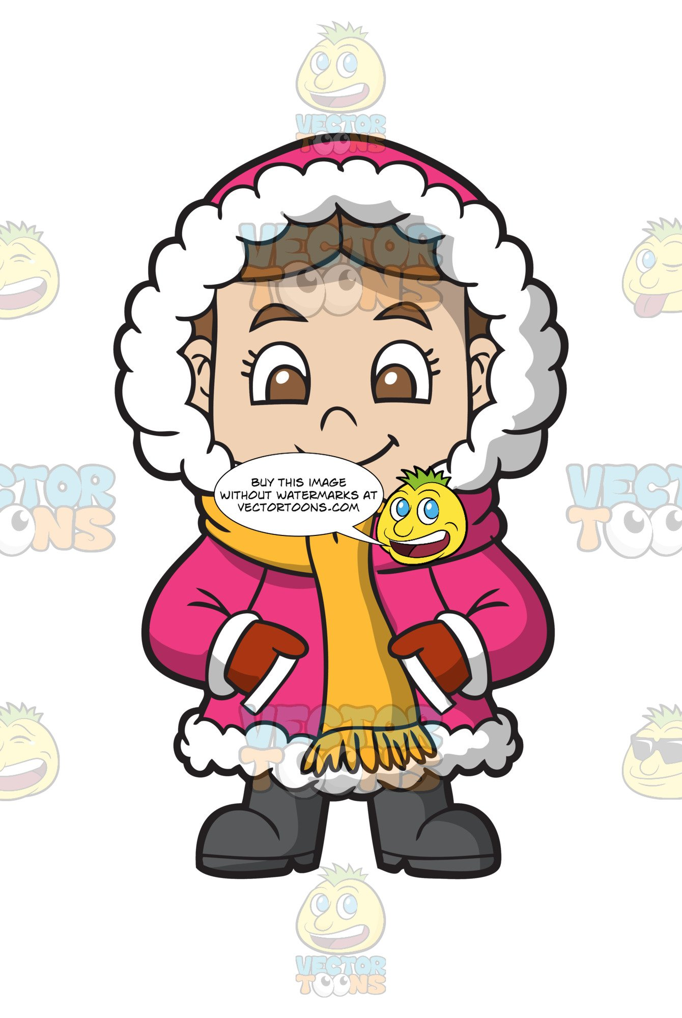 Clipart images of a girl in a winter coat clipart A Girl Comfortable In Her Winter Clothing clipart