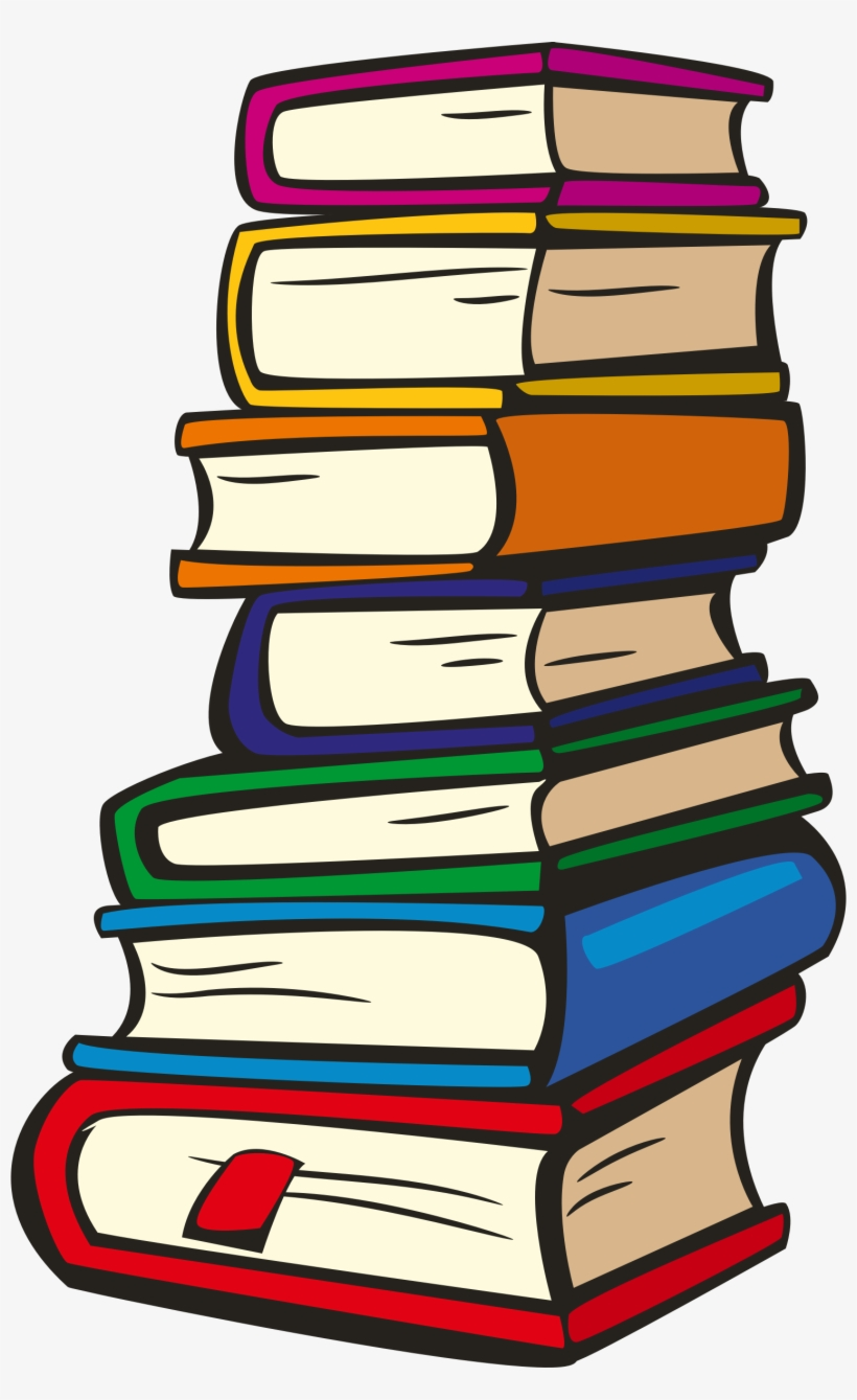 Stack of books clipart with see through background