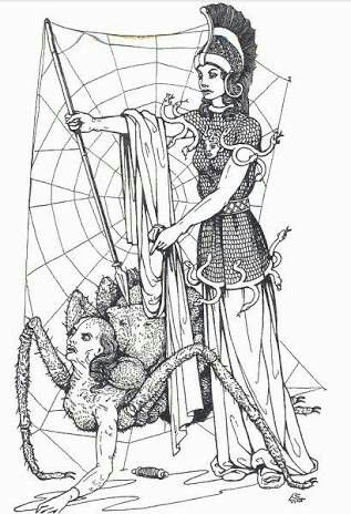 Clipart images of arachne and athena weaving contest clip black and white stock Athena has curses Arachne to be a Spider who always weave. A curses ... clip black and white stock