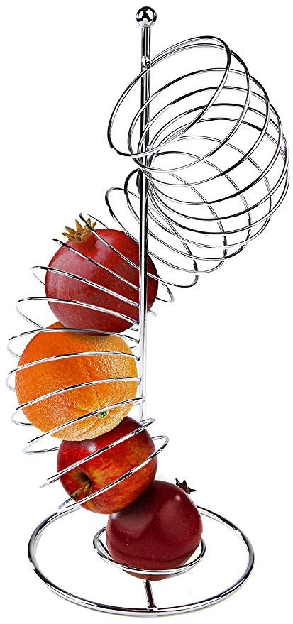 Clipart images of dropping something into a metal bowl clip black and white download Mind Reader Spiral Fruit Basket, Stainless Steel clip black and white download