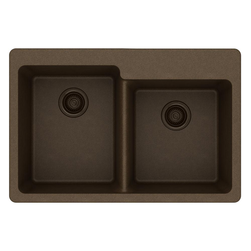Clipart images of dropping something into a metal bowl clipart black and white Elkay Quartz Classic Drop-In Composite 33 in. Square Offset Double Bowl  Kitchen Sink in Mocha clipart black and white