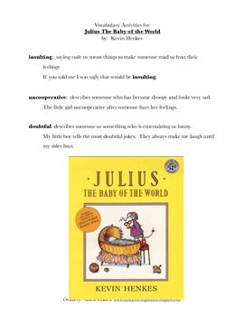 Clipart images of julius the baby by kevin henkes graphic black and white stock Julius The Baby of the World, by Kevin Henkes: Vocabulary Activities ... graphic black and white stock