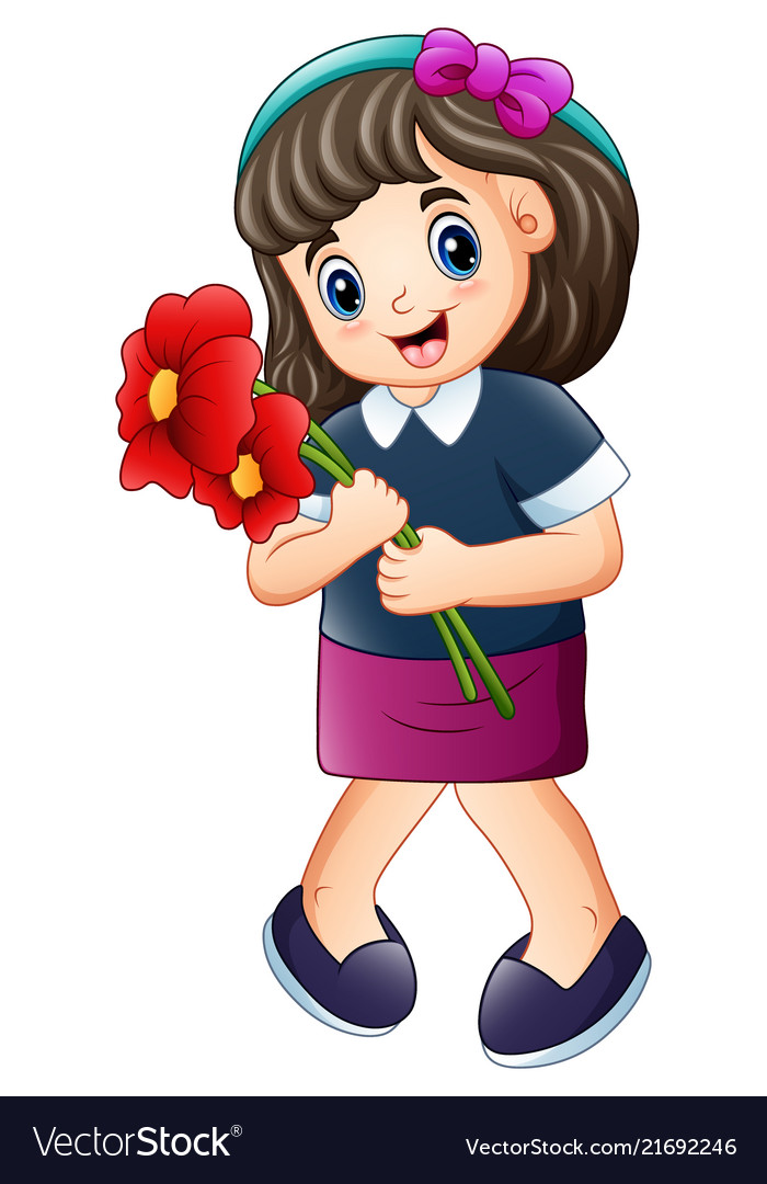 Clipart images of kids hold bouquets of flowers image black and white download Happy girl holding a red poppies flower image black and white download