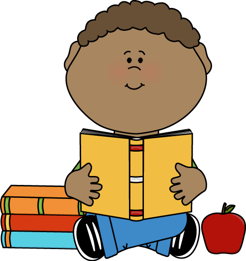 Clipart images of kids reading by or on apples banner freeuse Boy Reading Clip Art | Little Boy Reading a School Book Clip Art ... banner freeuse