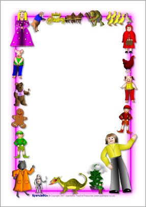 Clipart images of story tale stationery borders