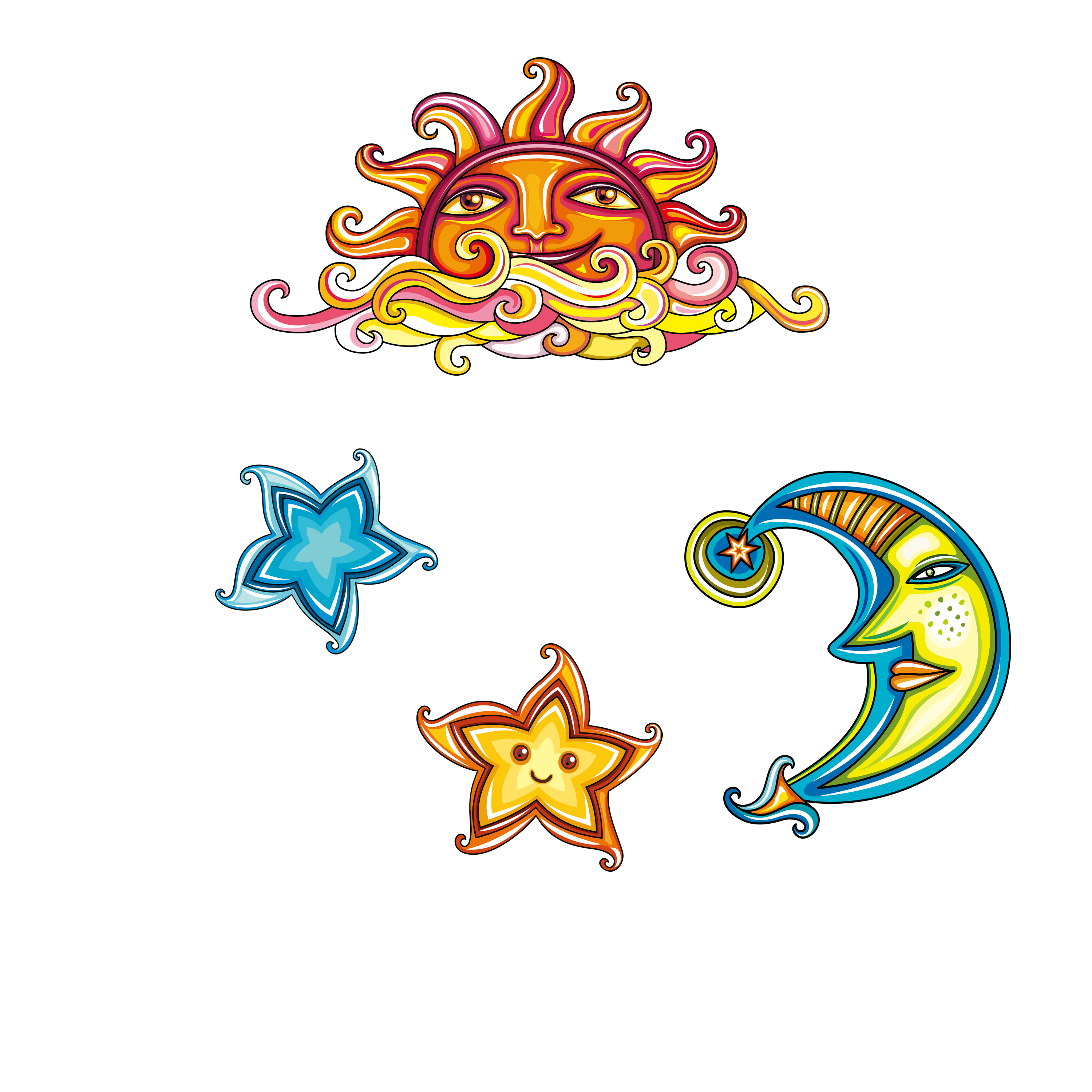 Sun moon stars free clipart freeuse library Illustration - Sun Moon Star 3000*3000 transprent Png Free Download ... freeuse library