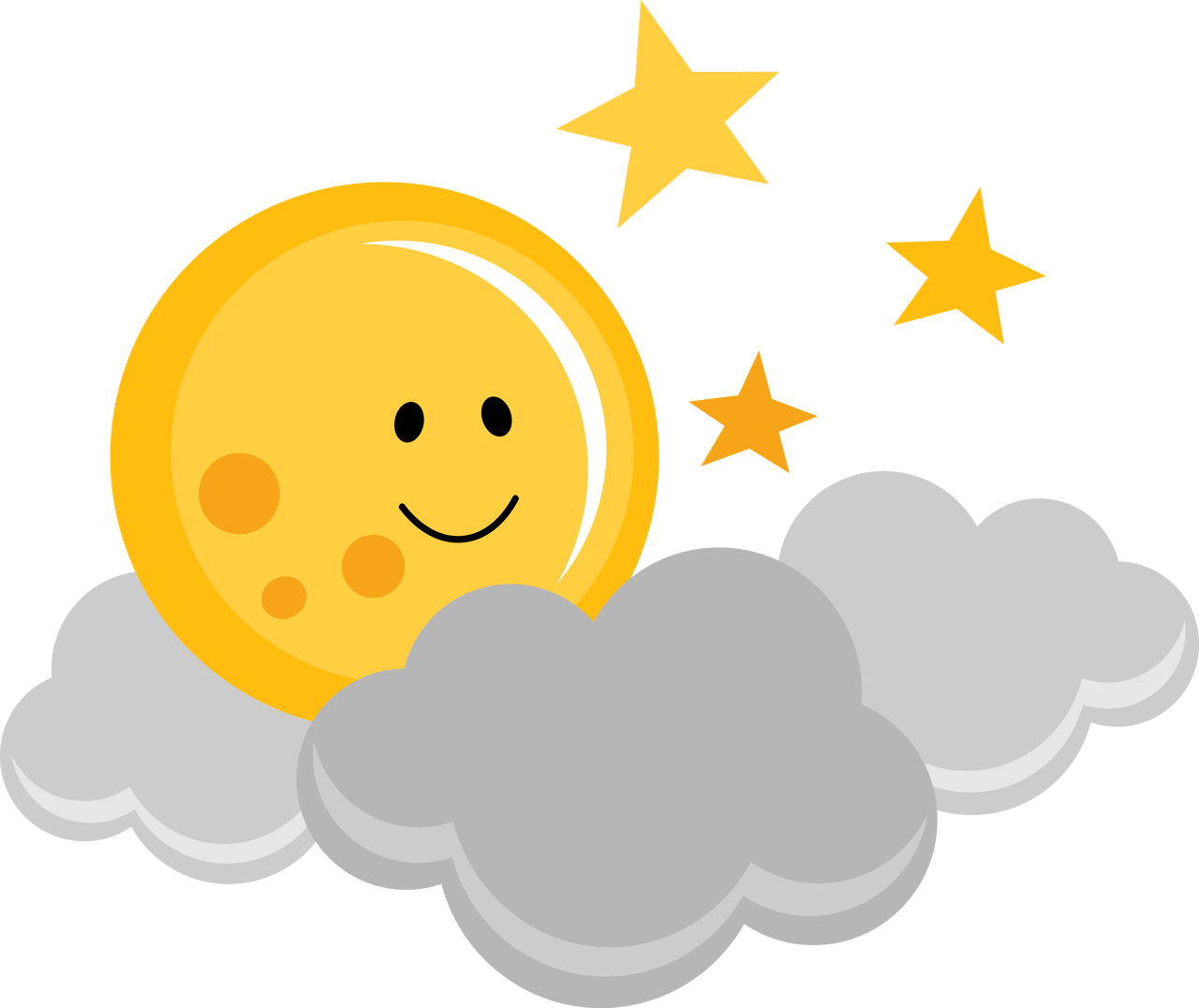 Sun peeking around clouds clipart