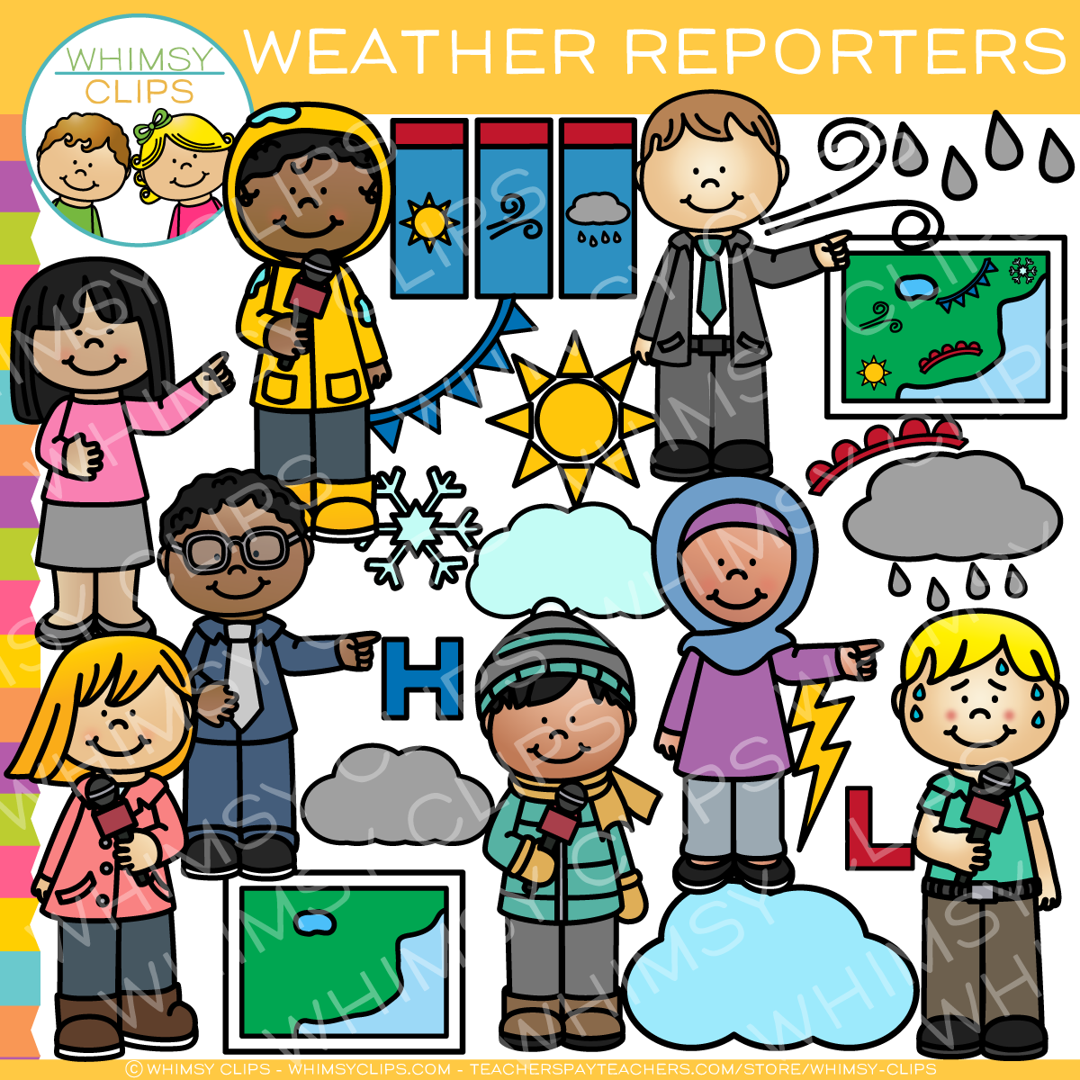 Clipart images of symbols kids of friendships picture transparent download Kids Weather Reporters Clip Art picture transparent download