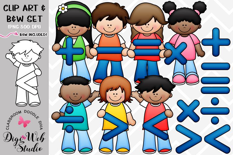 Clipart images of symbols kids of friendships vector library library Clip Art Illustrations - Math Symbols Kids vector library library