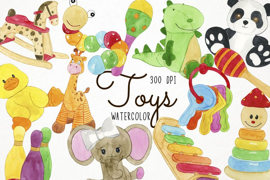 Clipart images of toys graphic Watercolor Toys Clipart, Toys Clip Art, Toy Clipart graphic