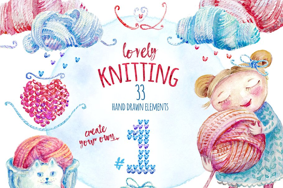 Clipart includes all of the following except ____ picture library Lovely Knitting Clipart #1 ~ Graphic Objects ~ Creative Market picture library