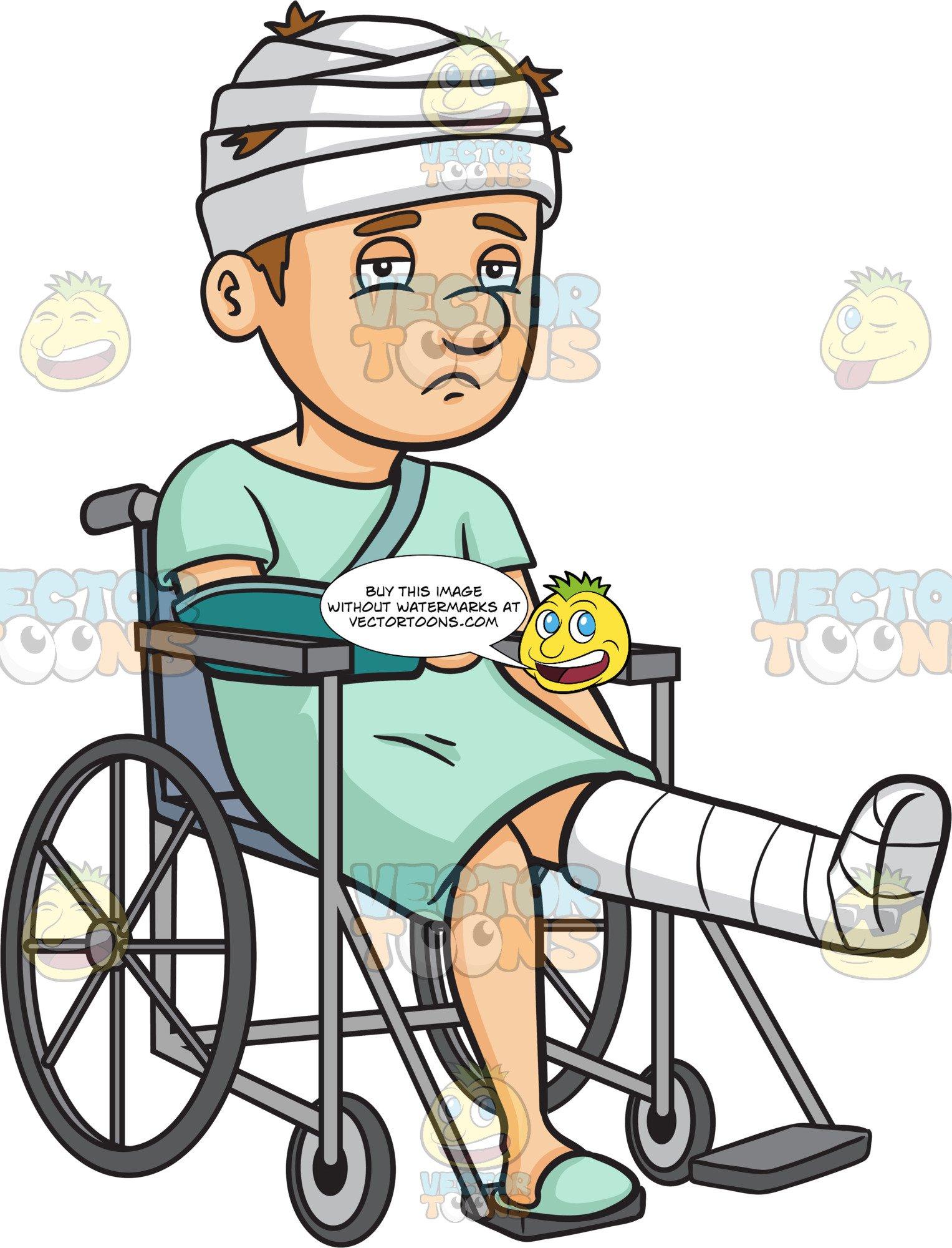 Clipart injured person clip art transparent stock A Sad Injured Man In A Wheelchair clip art transparent stock