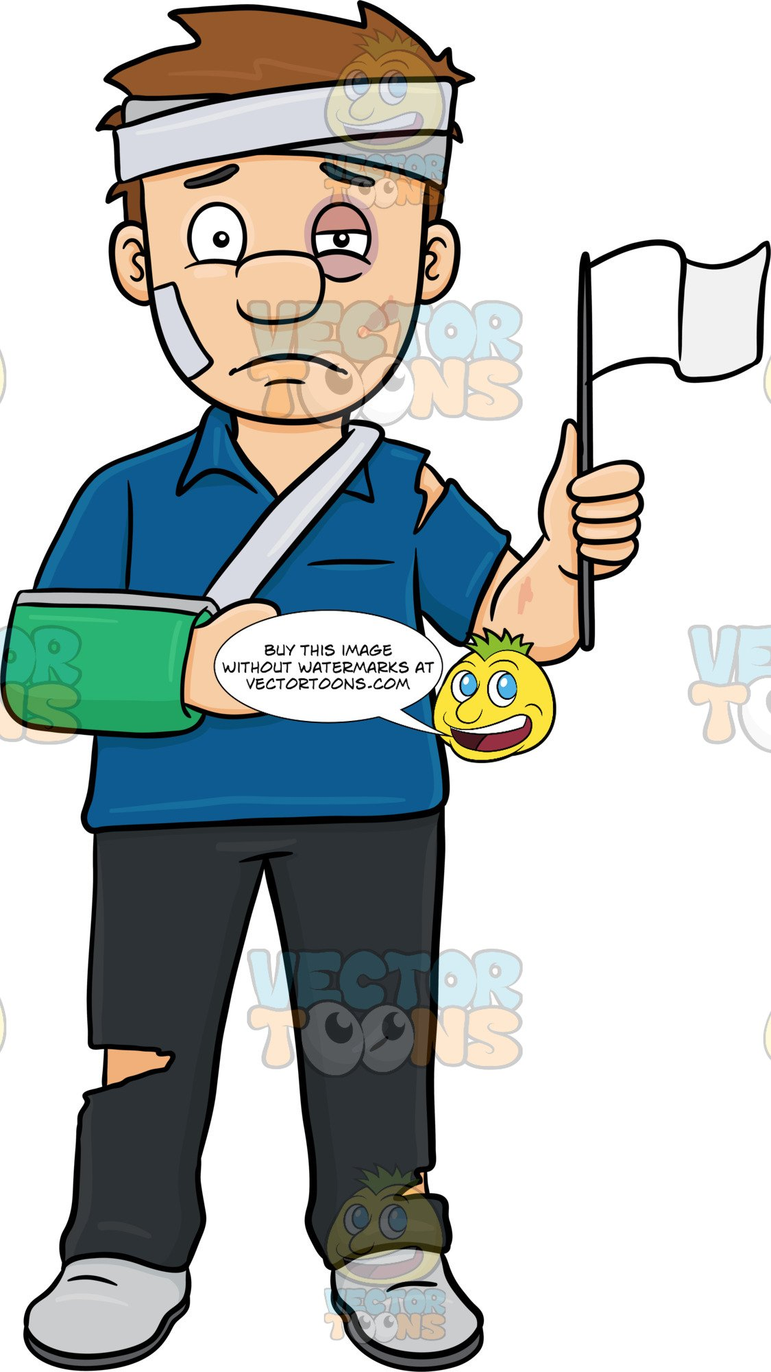 Clipart injured person freeuse An Injured Man Opting Out Of A Fight By Surrendering freeuse