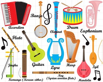 Clipart pictures of musical instruments clipart library library 36 PNG/JPG Musical Instruments ClipArt Set 1- Digital Clip Art Graphics  (127) clipart library library