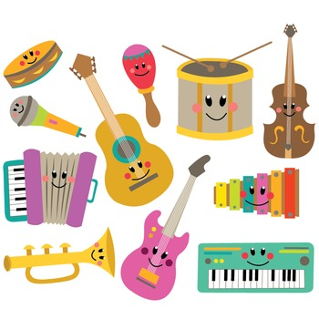 Clipart pictures of musical instruments picture black and white library Musical Instruments Clipart & Vector Set picture black and white library
