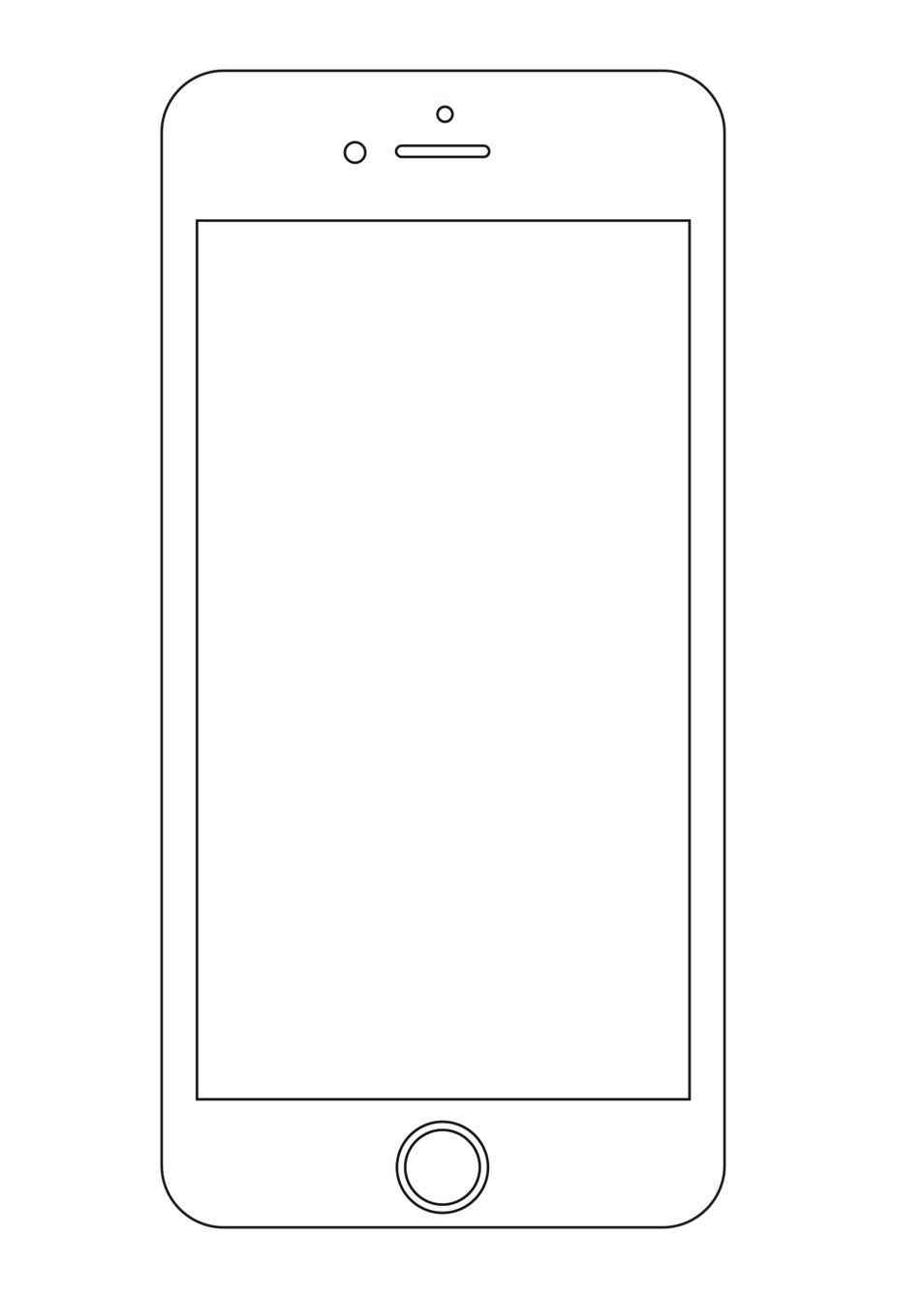 Clipart iphone 6 banner black and white library Blank iphone clipart - ClipartFest banner black and white library