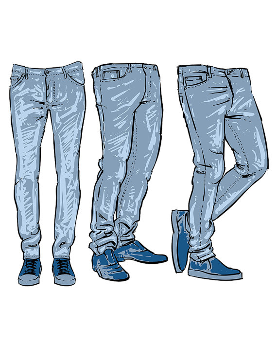 Clipart jeans hd picture black and white library Hand drawn fashion design men\'s jeans. clipart commercial use ... picture black and white library
