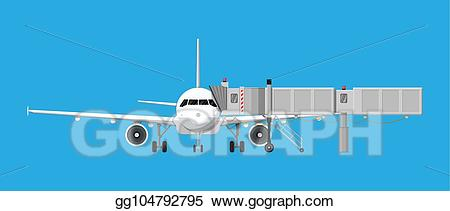 Clipart jet-way png black and white Vector Stock - Aero bridge or jetway with aircraft. Clipart ... png black and white