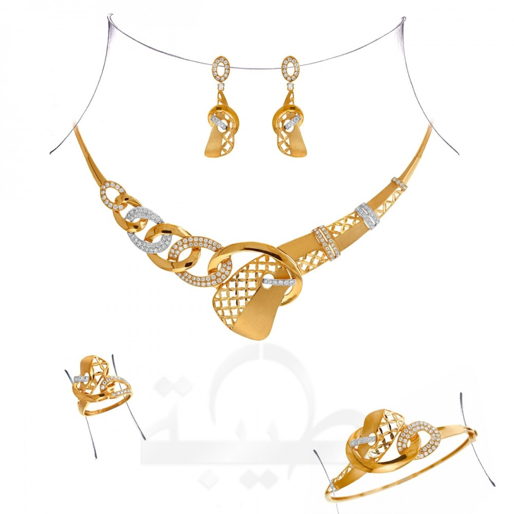 Clipart jewellers dubai location clipart black and white stock Full Set - A3065 - 21k Jewellery - Gold Collection - Taiba Dubai ... clipart black and white stock