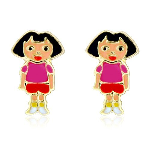 Clipart jewellers edison nj image 14K Yellow Gold Pink And Red Enamel Dora Screw Back Earrings 42001596 image