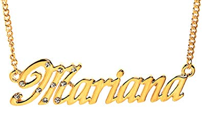 Clipart jewellers full name clip black and white Amazon.com: Zacria Name Necklace Mariana - 18K Yellow Gold Plated ... clip black and white