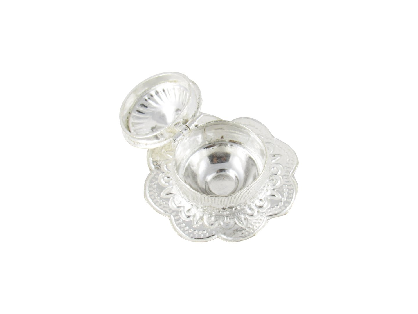 Clipart jewellers silver pooja items png free library GoldGiftIdeas Silver Plated Flower Kankavati with Lid, Pooja Items for  Home, Return Gift for Wedding and Housewarming with Designer Potli Bags png free library