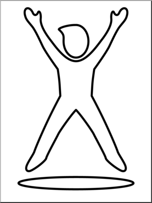 Clipart jumping jacks clipart freeuse stock Clip Art: Simple Exercise: Jumping Jacks B&W I abcteach.com | abcteach clipart freeuse stock