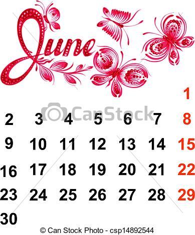 Clipart june calendar clip art free stock EPS Vector of Calendar June 2014 - Calendar, June 2014, hand drawn ... clip art free stock