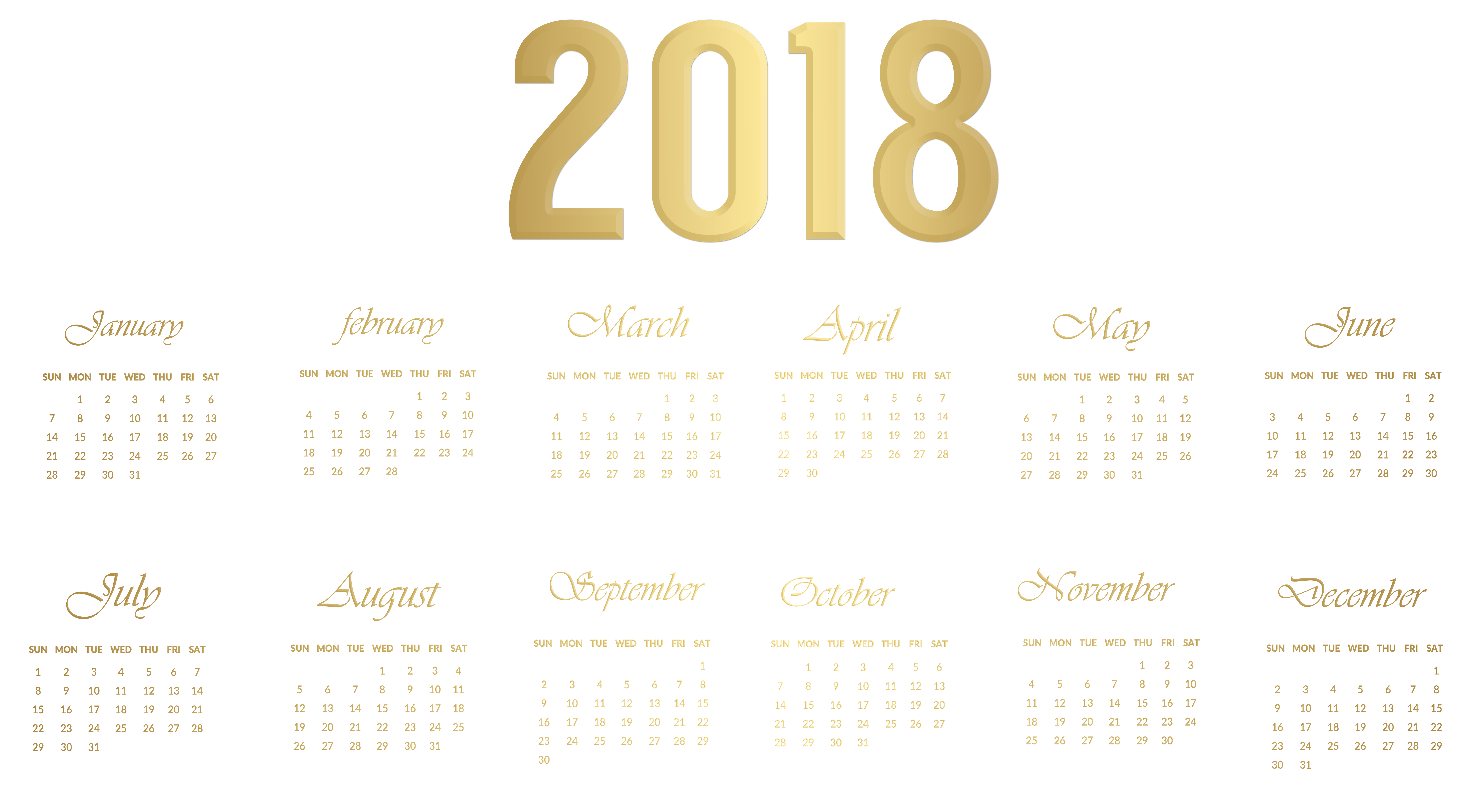March calendar clipart vector library stock 2018 Calendar Gold Transparent PNG Image | Gallery Yopriceville ... vector library stock