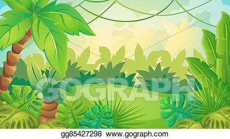 Clipart jungle background image freeuse Vector Illustration - Cartoon jungle game background. Stock Clip Art ... image freeuse
