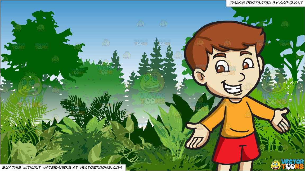 Jungle background clipart clipart black and white A Cheerful Boy and Lush Green Jungle Background clipart black and white