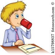 Vektor grafiken eps clip. Clipart kaffee trinken