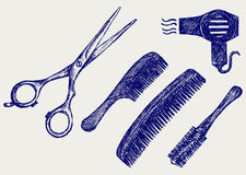 Clipart kamm und schere clipart black and white Hairdressing Equipment Stock Illustrations – 1,069 Hairdressing ... clipart black and white