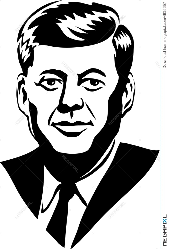 Clipart kennery black and white stock John F. Kennedy/eps Illustration 4935857 - Megapixl black and white stock