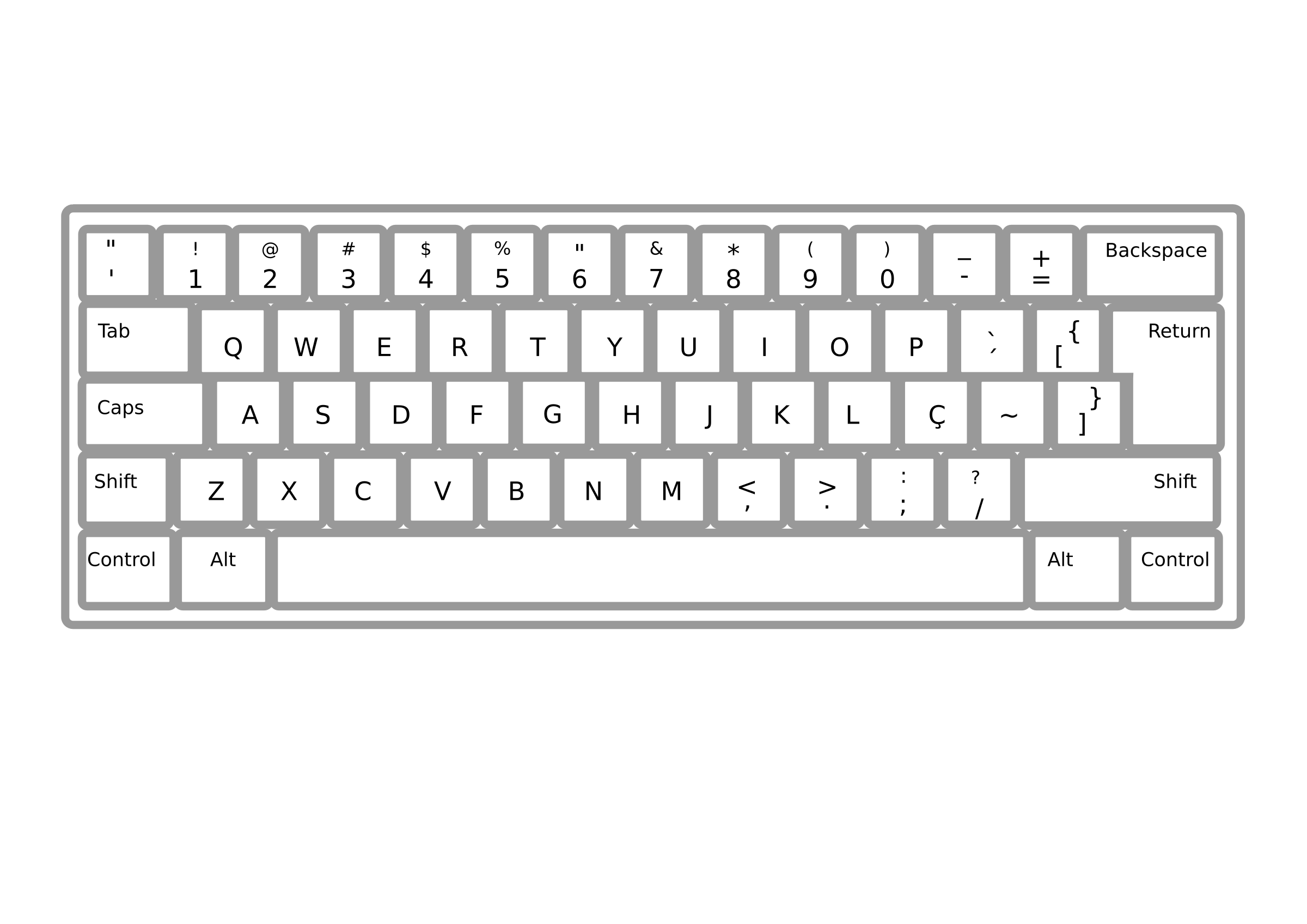 Clipart of computer keyboard jpg freeuse stock Clipart - Keyboard ABNT2 Pt Br jpg freeuse stock