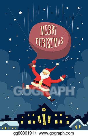 Clipart kid on top of roof looking down picture free Vector Art - Santa claus fall down fly sky roof top house red bag ... picture free