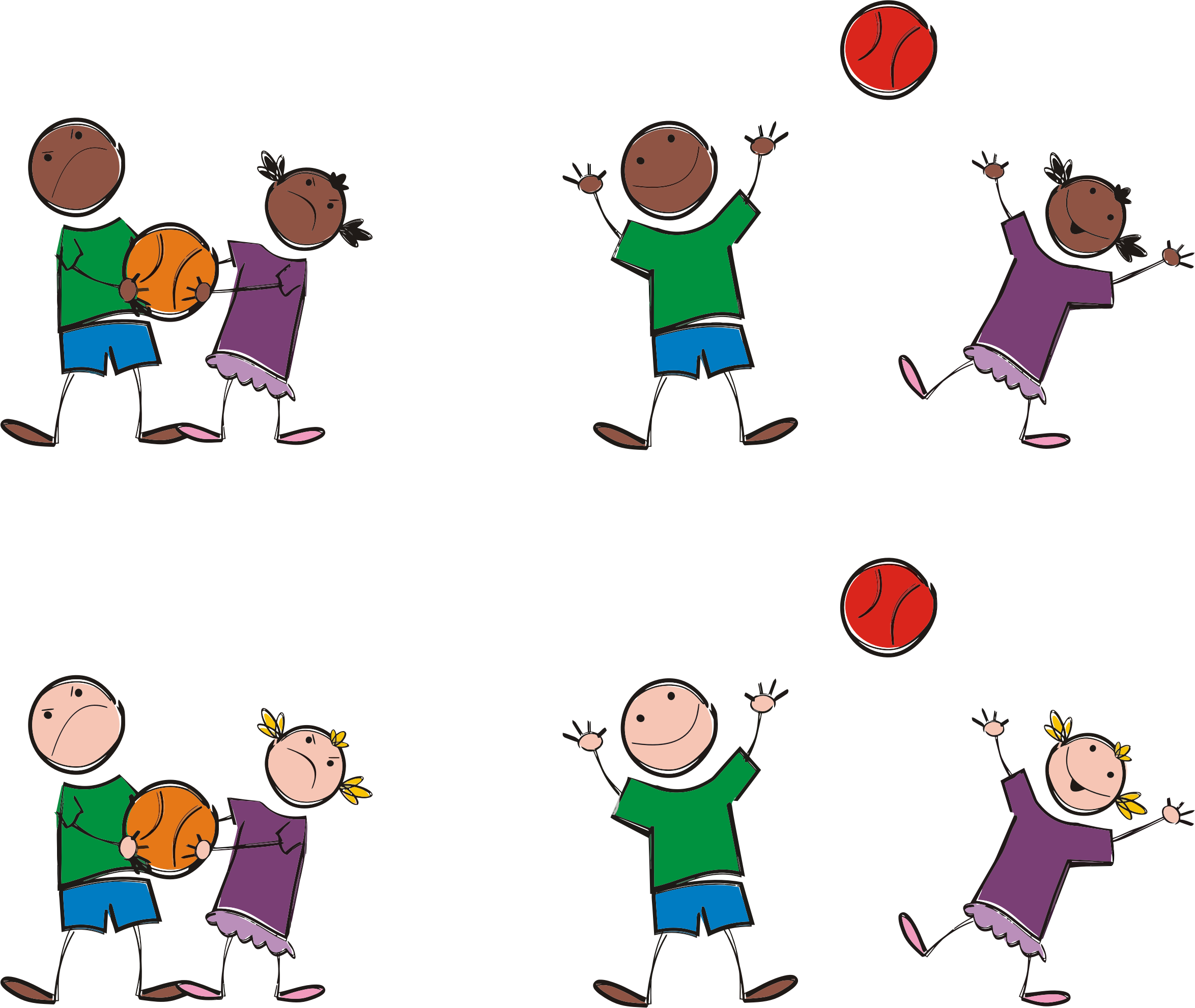 outdoor kids basketball game clipart #11