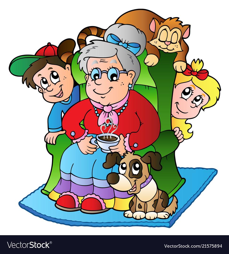 Clipart kid visiting grandma jpg download Cartoon grandma with two kids jpg download