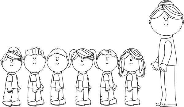 Teacher with students clipart black and white png black and white library Kids playing black and white clipart images gallery for free ... png black and white library