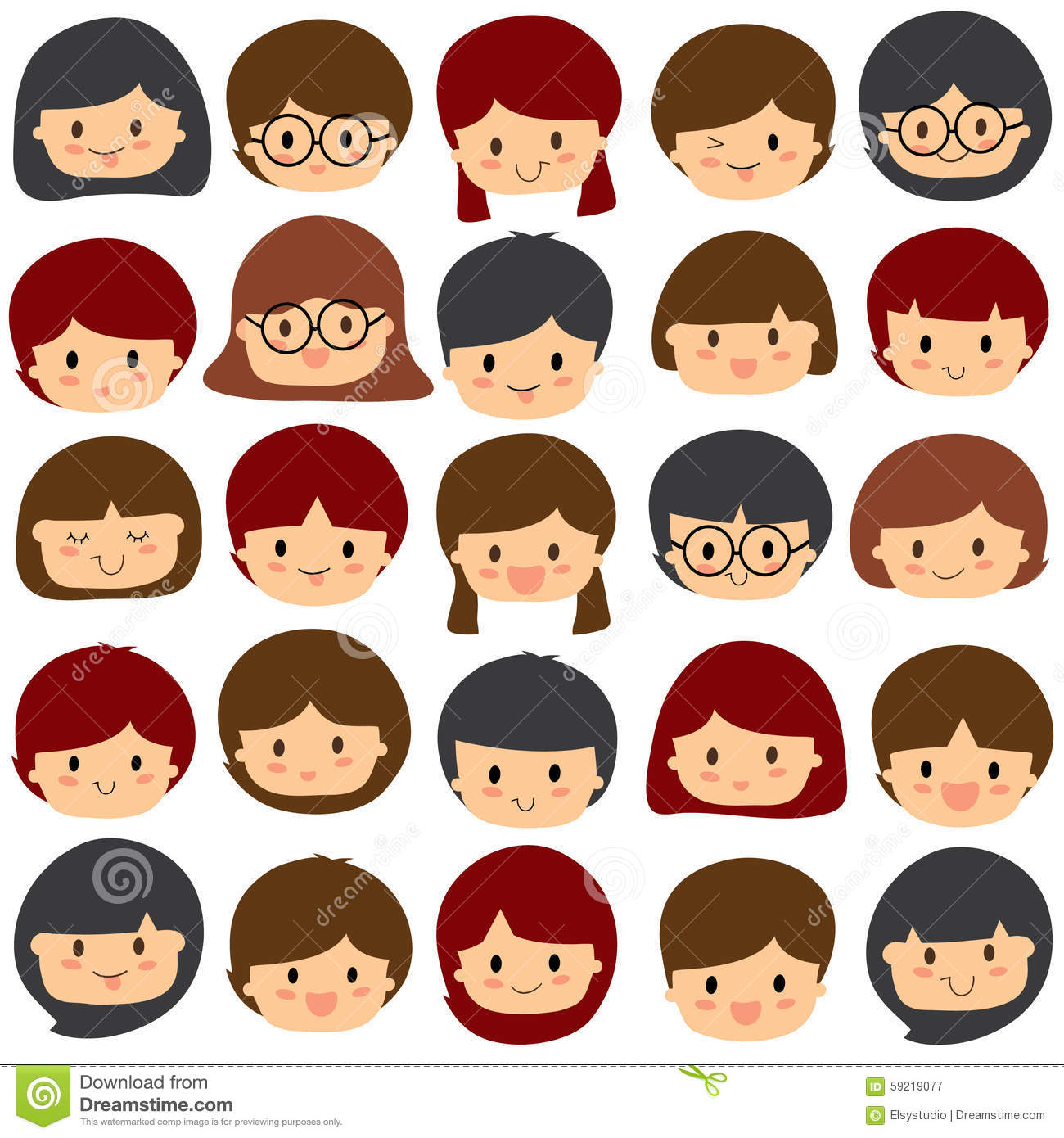 Clipart kids character heads jpg black and white stock Clipart kids character heads - ClipartFest jpg black and white stock