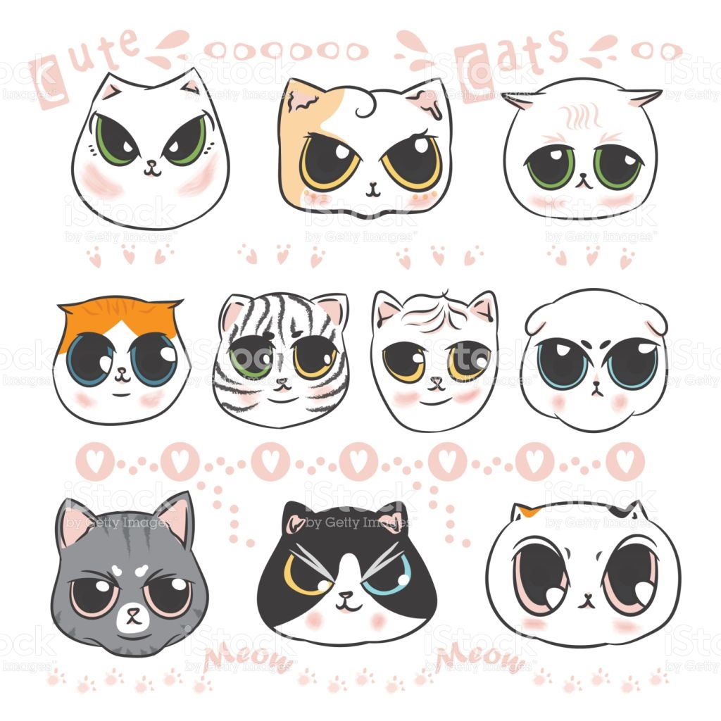 Clipart kids character heads picture transparent stock Cute Cats Heads Doodle And Kitten Cartoon Character Design Hand ... picture transparent stock