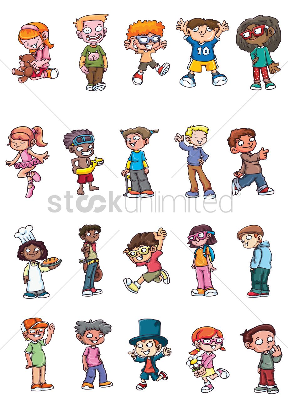 Clipart kids character heads picture freeuse Kids character collection Vector Image - 1412539 | StockUnlimited picture freeuse