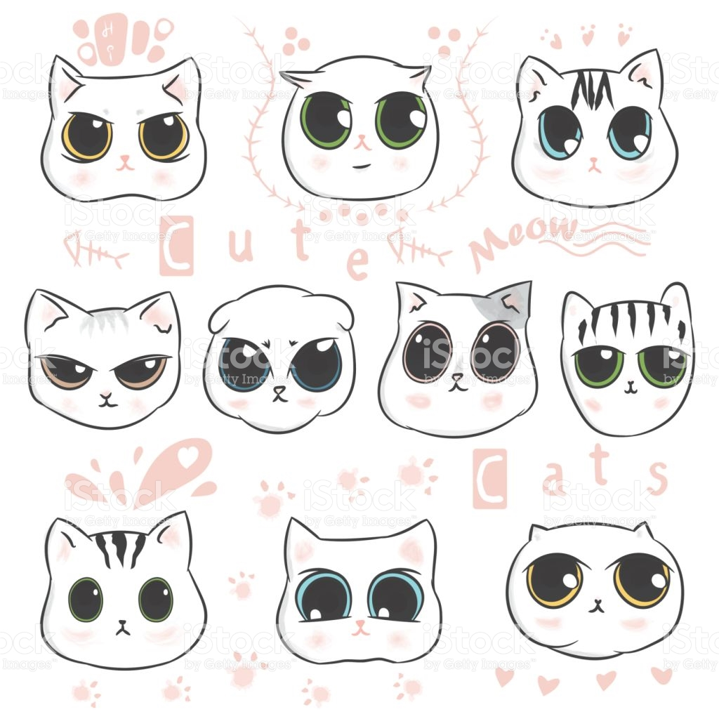 Clipart kids character heads free library Cute Cats Heads Doodle And Kitten Cartoon Character Design Hand ... free library